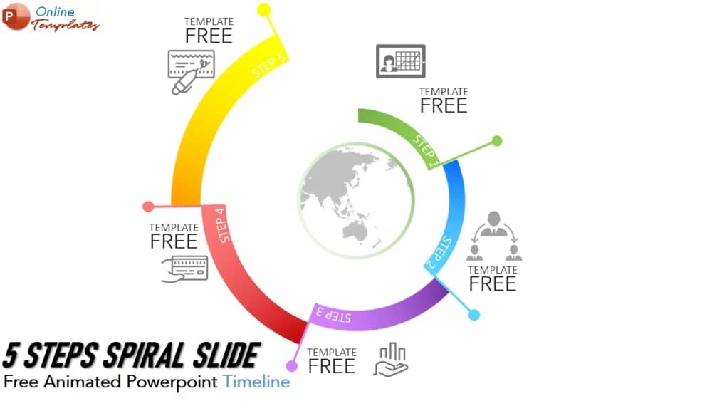 5 Steps Spiral Diagram Animated Template