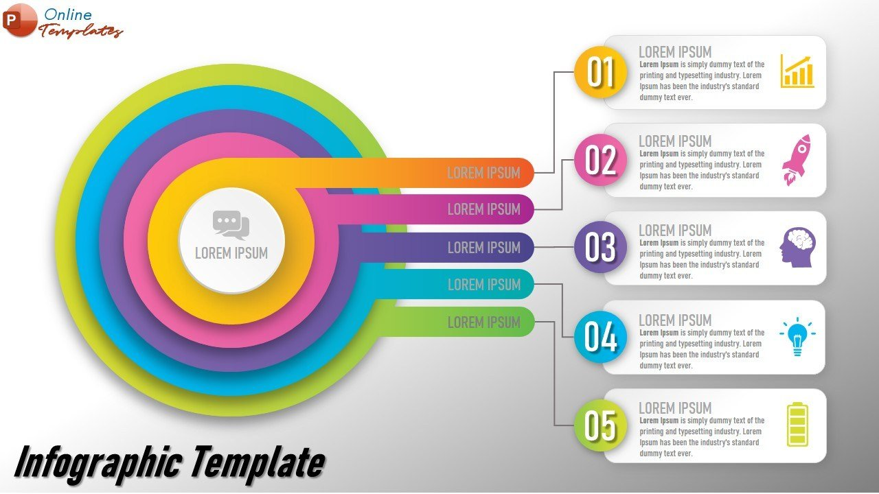 Circular labeled Items Infographic Powerpoint