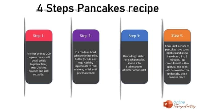 4 Step Pancakes Recipe - Labels Template - Online Powerpoint Templates
