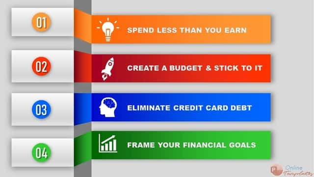 4 Tips for saving money Animated Infographic in Powerpoint